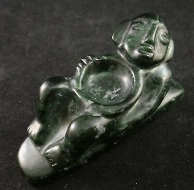 Ancient Pre-Columbian Carved Jade, reclining man w/bowl. c. 900 - 1400 AD