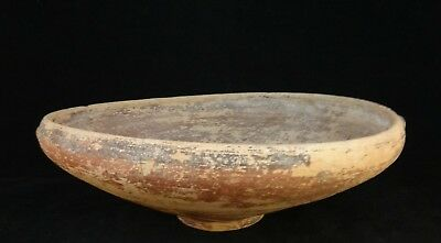"""Ancient Cypriot Pottery Footed/Handled Bowl,painted rings,C.800-600 B.C 10.5"""""""
