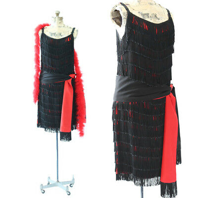 Vtg 60s 20s black fringe flapper red Ostrich feather boa cocktail party dress