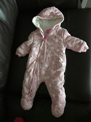 Joules baby girls 6-9 months Pink Bunny Fleece Lined Suit With Hood Immaculate