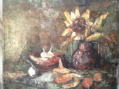 Superb Still Life Oil Painting On Canvass, Not Framed, Signed