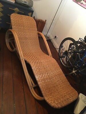 Vintage Mid Century Bamboo Rattan Wicker Pretzel lounger chair From Conran Shop