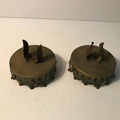 Antique pair art deco shade holder bobeches for lamp or ceiling light fixture