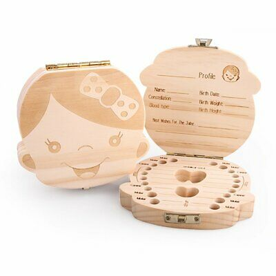 Baby Tooth Box Organizer Boy Girl Kids Milk Teeth Saver Wood Storage Case Gift