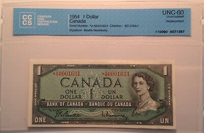 *AM 1954 $1 BC37bA-i BEATTIE/RASMINSKY *AM0001631 CCCS UNC60 REPLACEMENT