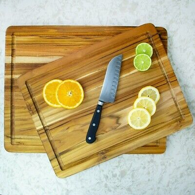 TeakHaus by Proteak Carving Board with Juice Well | Set of 2