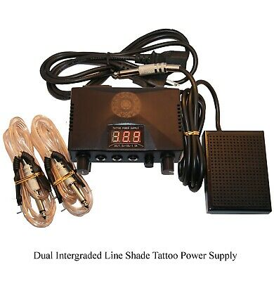 Dual LCD Integrated Tattoo Power Supply Machine 2 Clip Cord 1 Black Foot Pedal