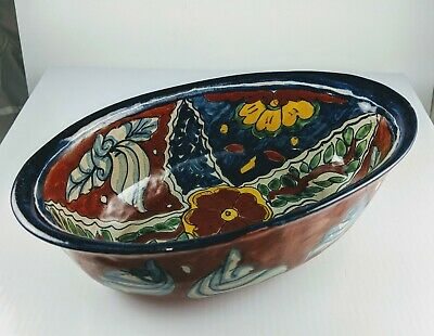 TALAVERA MEXICAN POTTERY - OVAL SERVING DISH WITH HANDLES