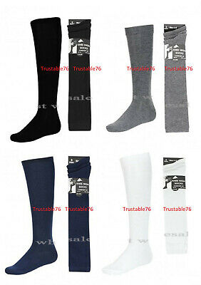 Girls Plain Knee High Socks School Socks Uniform Socks in Black White Navy Grey