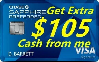$855 Signup Bonus from Chase Sapphire Preferred Credit Card (incl. $105 from me)