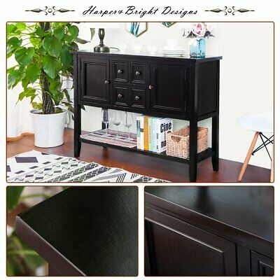 Console Table Buffet Entryway Hall Display Storage Drawers Cabinets Bottom Shelf