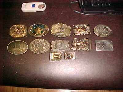 Lot Of 12 Belt Buckles Most With Western Theme Some Vintage And Collectible