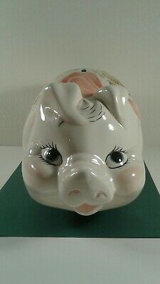 Vintage Ceramic Large White & Pink Piggy Bank w/ Bow & Flowers Detail Free Ship
