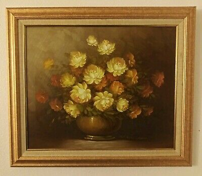 """Robert Cox 30"""" x 26"""" Still Life Floral Oil Painting Yellow Brown Orange Flowers"""