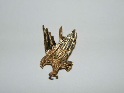 Vintage Solid 14K Yellow Gold American Eagle Bird Pendant Wings Upstretched #1
