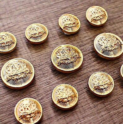 J262 Lot 11 15/20mm Gold Metal Blazer Suit Set Button Bespoke Sport Coat Sewing