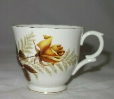 Collectible Crown Staffordshire Fine China Tea Cup  Golden Yellow Rose