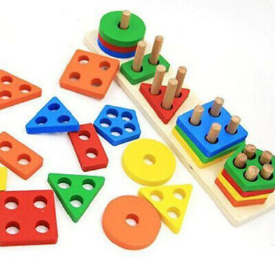 AU Wooden Educational Preschool Toddler Toys For 1-5 Years Old Boys/Girls Shapes