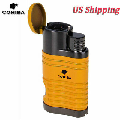 COHIBA Refillable Metal 4 Torch Jet Flame Cigar Lighter Windproof w Punch Yellow