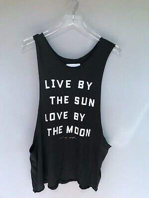 Spiritual Gangster crop tank top live by the sun love by the moon black new sz m