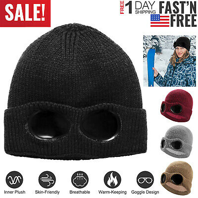 Unisex Knit Beanie Hat with Goggle Chunky Winter Warm Hat Skull Cap 4 Colors