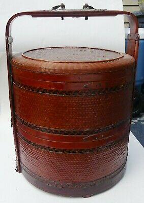 "Large 3 tier antique Chinese wedding basket 20""1/2 H"