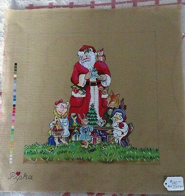 "Hand Painted Needlepoint Canvas DJ Designs ""Santa and Friends"""