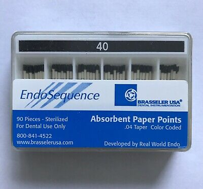Brasseler Endosequence Absorbent Paper Points, Size 40 taper .04, 1 Pack NEW