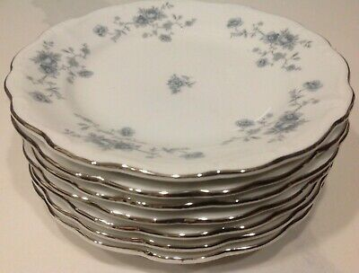 Set of 7 Johann Haviland Bavaria Germany Blue Garland Bread and Butter Plates
