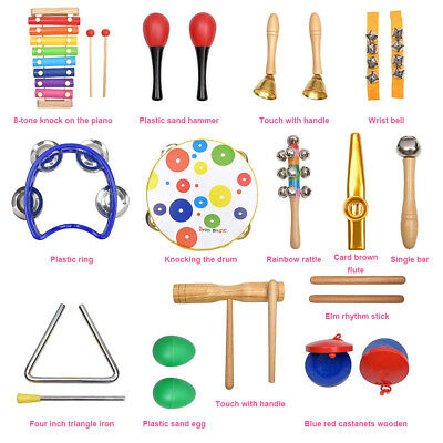 19PCS Wooden Kids Baby Musical Instruments Toys Children Toddlers Percussion!
