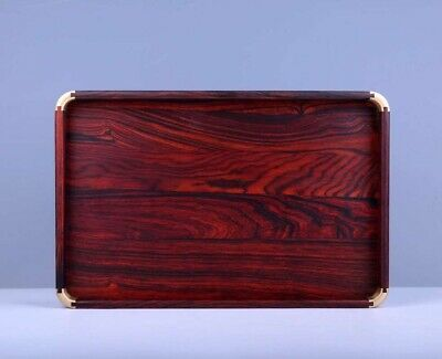 red wood inlay copper china Mortise tenon structure Antique style Tea tray plate