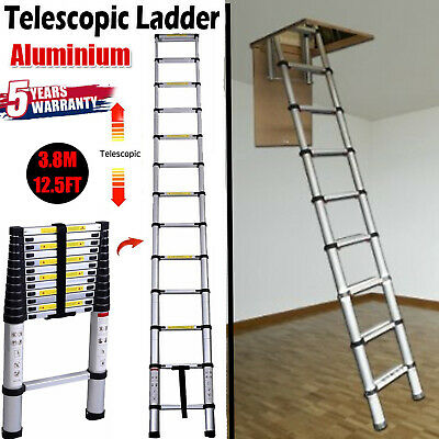 Telescopic Ladders 10.5ft 3.2M 150KG Max Capacity Extension Folding Portable Aluminum Lightweight Easy to Store in Car Trunk Home Loft Attic Step Ladder DIY Builer Supplies EN131