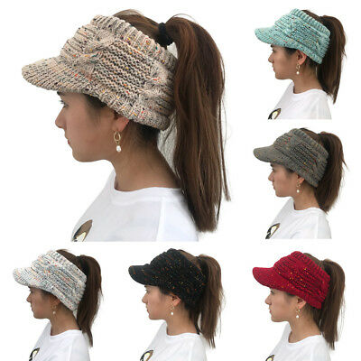 Womens Ladies Ponytail Ribbed Winter Beanie Hat Cap Knitted Wool Hats AU