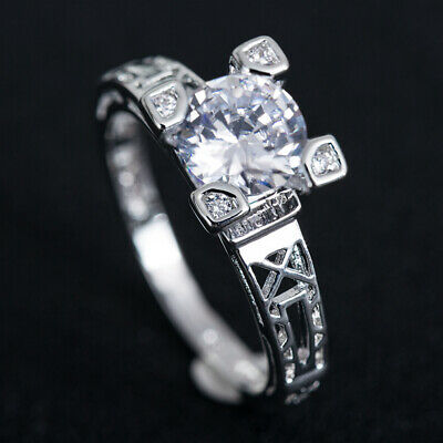 Shiny Round Cut Cubic Zirconia Silver Wedding Engagement Rings For Women Sz 6-10
