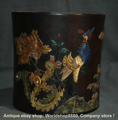 """9"""" Old Chinese Blood red Wood inlay Shell Phoenix Flower Brush Pot Pencil Vase"""