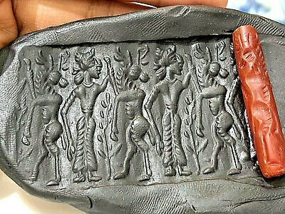 Ancient Carnelian Babylon Men Training Long Horn Deer Cylinder Intaglio Bead