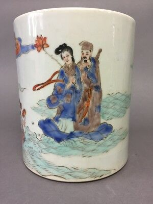 Chinese Antique Famille Rose Figure Porcelain Brush Pot Qing Dy. 19th Century