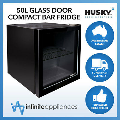 Husky 50L Glass Door Mini Compact Countertop Bar Fridge in Black or White