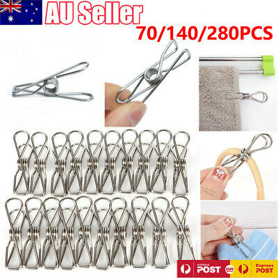 140/280x Stainless Steel Clothes Pegs Hanging Clip Pins Laundry Windproof Clamp