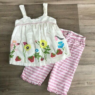 Baby Boden Mini Girls 2T Applique Floral strawberry bird top pants Play Set