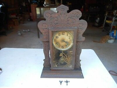 Antique Wood Gingerbread Ansonia? Shelf Wall Mantle Clock