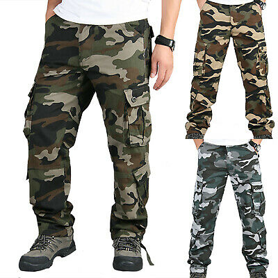 Mens Cargo Work Trousers Army Camo Military Combat Hiking Pockets Casual  Pants