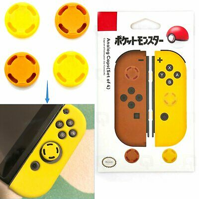 4pcs/Set Themed Analogue Caps Lets Go Pokemon PIKACHU Yellow Part for NS Joy-con