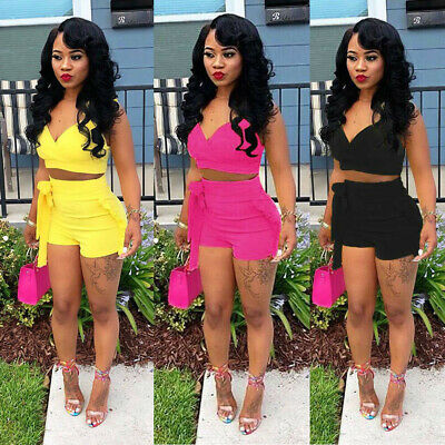 Women Stripe Two-Piece Sports Romper Crop Top Shorts Summer Set Outfits