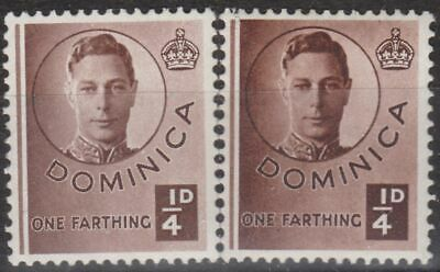 g1009) Dominica. 1940. MM. SG 109/9a 1/4d Chocolate. Royalty. c£23+