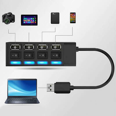 4 Ports Hub USB 2.0 Adapter Splitter Socket High Speed with Switch for Computer