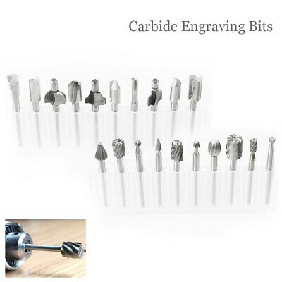 20pc Engraving Bits Carbide Burrs Set Die Grinder Rotary Tool HSS for Dremel