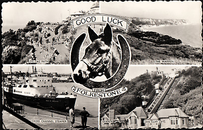 5 View Good Luck Real Photo Postcard of Folkestone Kent UK B62