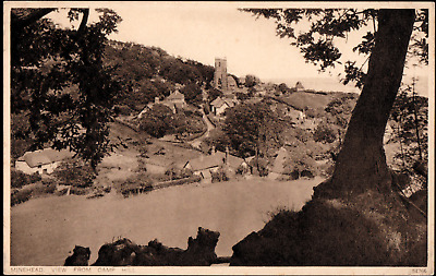 Minehead Somerset View from Camp Hill UK 1933 Real Photo Postcard B64