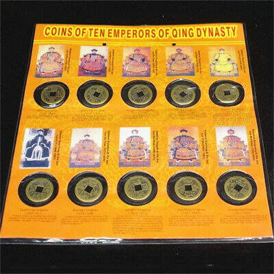 X10 Set Ten Emperors Coins Chinese Copper Coins Old Dynasty Antique Currency LE